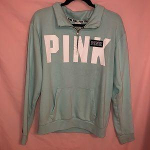 Victoria's Secret PINK Blue Quarter Zip Fleece
